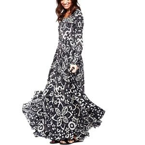 Free People First Kiss Maxi Dress in Shark Combo